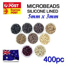 Hair Extension Microbeads 400 Micro Ring Bead Silicone Lined 5mm x 3mm Aluminium