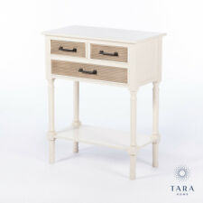 COUNTRY CREAM WOODEN 3 DRAWER CONSOLE SIDE HALL TABLE (GB740)