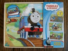 NIP Thomas And Friends Train - 3 Wood Puzzles 24 Pieces Ea Storage Box Included