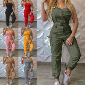 Womens Sleeveless Cargo Pocket Jumpsuits Ladies Casual Solid Belted Long Rompers