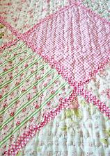 Tagesdecke 140x200 Patchwork Quilt rosa weiß Landhaus Romantik Plaid Rosen Karo