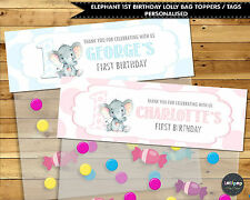 ELEPHANT JUNGLE 1ST BIRTHDAY LOLLY BAG TAG PERSONALISED FAVOUR LOOT TOPPER THANK