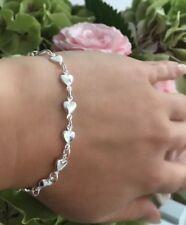 Genuine 925 Sterling Silver Heart Link Bracelet Free GIFT Box Bridesmaid Friends