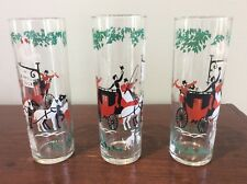 Set of 3 The White Cock Stage Coach Inn High-Ball Glasses Vintage Retro Libbey