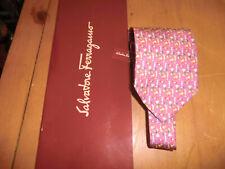 Ferragamo pink drinks coctails tie w box silk 3.75 x 58 immaculate!