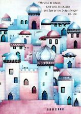 Little Town Of Bethlehem Pastel Blue Purple Pink Christmas Cards - Set of 42