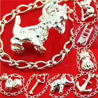 Charm Bracelet Bangle Real 925 Solid Sterling Silver Authentic Antique Design