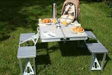 NEW HEAVY DUTY ALUMINIUM PORTABLE FOLDING PICNIC TABLE & BBQ CHAIRS SET
