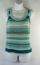 Women's New York & Company Blue Tan Stripes Sleeveless Top Blouse Size M