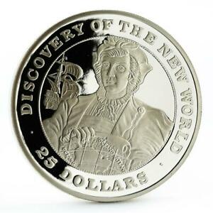 Bahamas 25 dollars Discovered New World series Columbu's Ship silver coin 1991