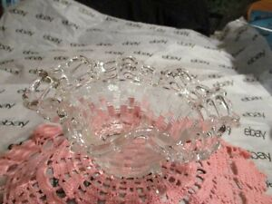 Vintage? Clear Glass  Basket Weave Footed Candy Dish with Open Ruffled Lace Edge