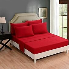 Luxuries 1-Piece TwinXL Size Bed (Top)Flat Sheet Red Solid 800 TC 100%Cotton