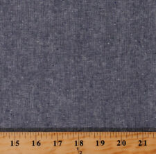 Linen Cotton Blend Essex Yarn Dyed Denim Blue Chambray Look Fabric Bty D255.25