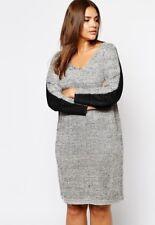 Carmakoma Plus Size 20 22 2X 3X Gray Black Metallic  V-Neck Sweater Dress