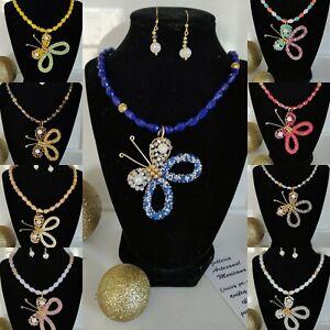 Collares de cristal /mariposa Lote De 12 sets joyeria artesanal mexicana.