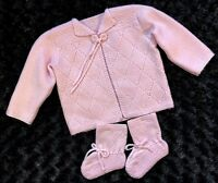 Pink Infant knit/crochet Baby Sweater & Booties Argyle Diamond Girls 6-12 Months