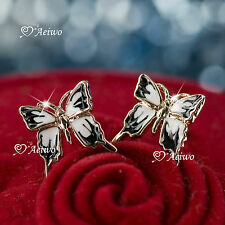 9K GF 9CT SOLID ROSE GOLD FILLED BUTTERFLY EARRINGS STUD BLACK WHITE