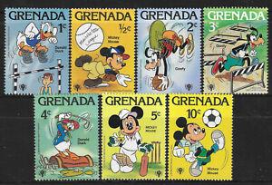 GRENADA 1979 DISNEY YEAR of CHILD SPORTS GOLF CRICKET BASEBALL FOOTBALL 7v MNH