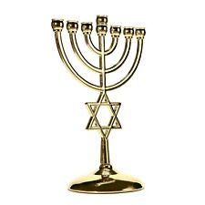 More details for gold star of david candle holder decor judaica 7 branch israel menorah hannukah