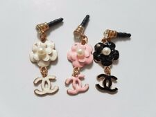 PHONE CHARMS x3 flower pink white & black