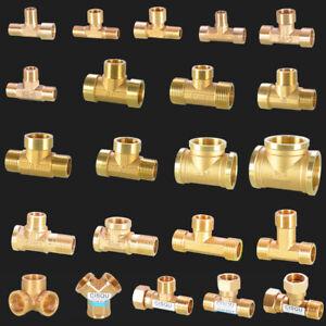 """Messing T-Stück Fitting (1/8"""",1/4"""",3/8"""",1/2"""" bis 2"""") Wasser Luft Rohr Verbinder"""