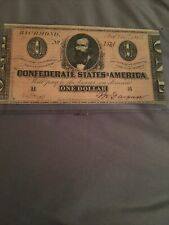 1864 Confederate States Richmond Va $1 One Dollar Large Currency Note.