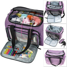 High Capacity Durable Yarn Tote Organizer Purple Large Craft DIY Knitting Bag
