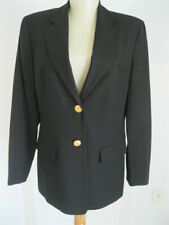 CLASSIC~Talbots Black Wool Laine GOLD CRESTED BUTTONS Jacket Blazer 6 CHEST: 37