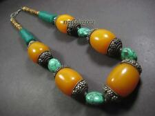 N4559 TIBETAN FASHION Gypsy Tribal Amber Resin Bovine Bone Wood Runway Necklace
