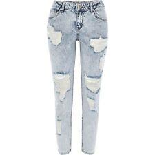 River Island Acid Wash Ripped Eva Girlfriend Jeans - Size 14R