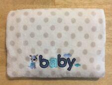 Just Born Baby Blanket White Plush Grey Polka Dot Blue Puppy Dog B A B Y