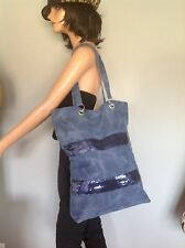 Jeans Denim Extra Large Bag Tote Shopper Navy Sequinced Designer Hip Fashion