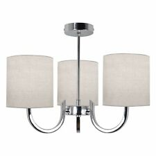 Modern Chrome 3 Arm Ceiling Light Chandelier Natural Fabric Shades Bedroom Loung