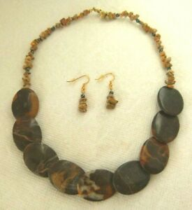 """NEW Picture Jasper with Hematite necklace and earrings set 21.5"""""""