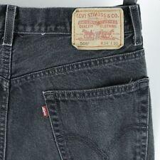 Mens Levis 505 Black Jeans Regular Fit Straight 34x30 Actual 32x28