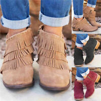 Ladies Women Tassel Causal Ankle Boots Low Chunky Heel Booties Zipper Shoes Size