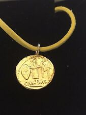 "Aureus Of Ceasar Coin WC81 Gold English Pewter On a 18"" Yellow Cord Necklace"