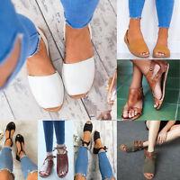 Women Ladies Flat Low Wedge Heel Espadrilles Peep-toe Gladiator Sandals Shoes US
