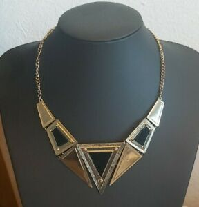 LOVELY VINTAGE CLEOPATRA STYLE PANELLED BLACK & GOLD NECKLACE 18 inches