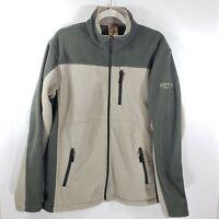 Mens RedHead Fleece Jacket Coat Size M Bass Pro Shop 3 zip Pocket Green Tan