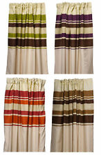 Ready Made Fully Lined Pencil Pleat Striped Curtains Bedroom Living Room Décor