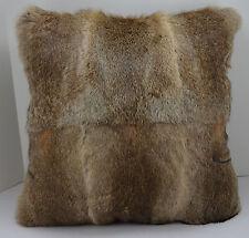 Rabbit Fur Pillow 18x18 Natural brown New made in usa fur cushion