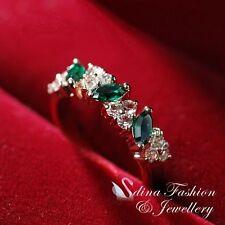 18K Rose Gold Plated Made With Swarovski Crystal Three Gem Eternity Emerald Ring