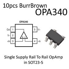 10x OPA340 Single Supply RailToRail OpAmp SOT23 BurrBrown On Tape OPA340NA