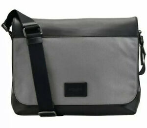 NWT COACH Men's Nylon Leather  Crossbody Messenger Bag~Black/Heather Grey F38741