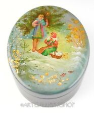 Vintage Russian Lacquer Box Fedoskino HANDPAINTED FAIRY TALE WINTER SCENE Signed
