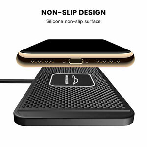 Car QI Wireless Phone Fast Charger Holder Non-slip Pad For iPhone 7 8 X XS MAX
