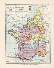 C1910 Antique Map Of France accession of louis X1