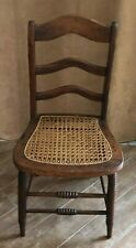 Vintage cane seat wooden side chair woven wood folk art design rush table