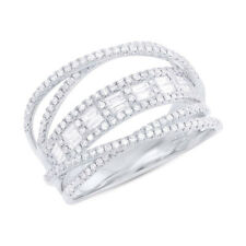 14K White Gold Baguette Round Diamond Crossover Bridge Multi Band Ring 0.78CT